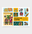 cartoon adventure game infographic template vector image vector image