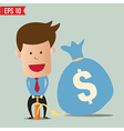 Cartoon Business man pumping money balloon vector image vector image