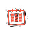cartoon calendar agenda icon in comic style vector image