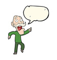 cartoon frightened old man with speech bubble vector image