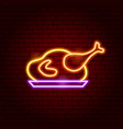 chicken meat neon sign vector image