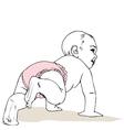 crawling baby girl in diaper