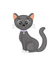 cute cartoon black cat isolated image on white vector image vector image