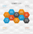education icons set collection of document case vector image vector image