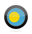 flag of palau shiny black round button vector image vector image
