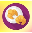 flat style croissant icon vector image