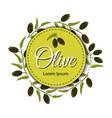 frame with ripe olive branches on white background vector image vector image