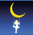 girl swing moon vector image vector image