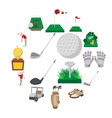golf cartoon icons set vector image vector image