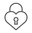 heart lock line icon love and padlock love lock vector image vector image