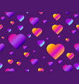 hearts seamless pattern with purple gradient vector image vector image