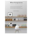 Interior design Modern workspace banner 4 vector image vector image