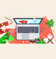 laptop on workplace desk christmas holidays vector image