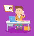 little caucasian office worker working on a laptop vector image vector image