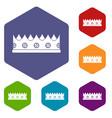 little crown icons set hexagon vector image vector image