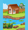 little hut by the river vector image vector image