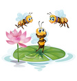 Lotus and bees vector image vector image