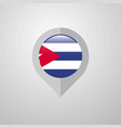 map navigation pointer with cuba flag design vector image