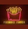 neon fries poster glowing sign dark city vector image vector image