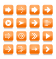 Orange arrow sign rounded square icon web button vector image