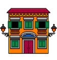 pixel art orange italian house with street lights vector image