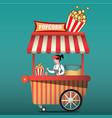 popcorn cart carnival store and fun festival vector image