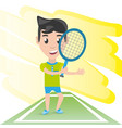 pretty woman athlete playing tennis vector image vector image