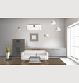 realistic sitting room interior 3d design vector image vector image