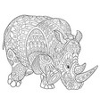 rhino coloring page vector image vector image