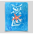 sea is love greeting card vector image