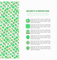 security and protection concept with line icons vector image vector image