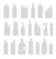 set of gray silhouette bottles cans vector image