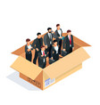 set of managers in a box isolated on white vector image vector image