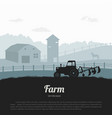 silhouettes farm landscape rural panorama vector image vector image