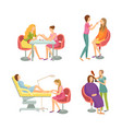 spa salon manicure and pedicure icons set vector image