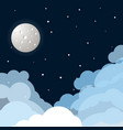 space flat background with moon and stars vector image
