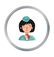 Stewardess icon in cartoon style isolated on white vector image vector image