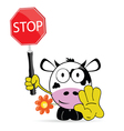 sweet and cute cow with sign stop vector image vector image