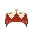 table in restaurant for two people festive vector image