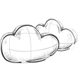 Two blue clouds weather icon vector image vector image