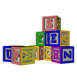 various colorful toy blocks on white background vector image