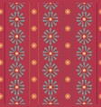 vertical folk daisies with stripes on red vector image vector image