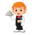 waiter restaurant serving cartoon vector image vector image