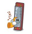 with trumpet harmonica mascot cartoon style vector image
