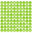 100 calculator icons set green circle vector image vector image