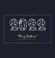 2022 number made of snowflakes and gold frame vector image vector image