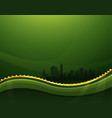 abstract green waving background with cityscape vector image