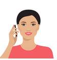 asian woman talking on the mobile phone vector image vector image