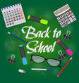 back to school text on green chalkboard banner vector image