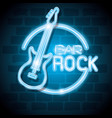 bar rock music neon label vector image vector image